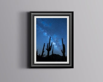 Cactus at Night,Art,Photo,Digital,Download,Decor,Home,Office,Tropical,Dusk,Star,Stars,Gift