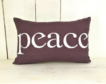 Decorative pillows, linen pillow, peace, farmhouse pillows, purple pillows, farmhouse, peace pillow, word pillow, inspirational