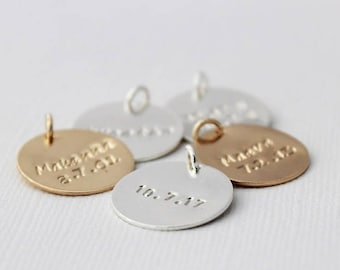 """hand stamped personalized jewelry, custom stamped disc, personalized name, 3/4"""" disc sterling silver or 14k gold filled"""