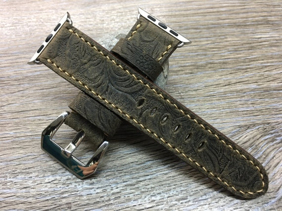 Apple Watch Band | Apple Watch Strap | Leather Craving Watch Band, Brown Craving Art Watch Strap For Apple Watch 38mm & 42mm, Series 1 and 2