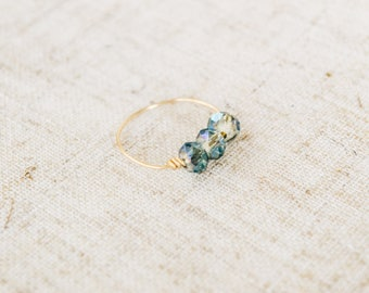 The Moss Ring-Gold and green ring, wire wrapped, swarovski crystals, for bridal parties, brides, and bridesmaids.
