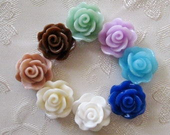 Resin Rose Flower Cabochon No Hole Small You Choose Your Colors 13mm 944