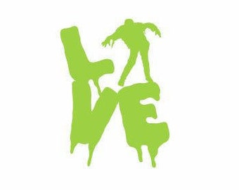 Love Zombie Decal:  Zombie Decals, Zombie Gifts, Zombie Decor, Gifts for Him, Halloween Decals, Scary Decals, Man Cave Decals, Love Decals
