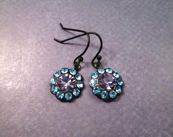 Flower Earrings, Amethyst and Blue, Vintage Glass Rhinestone Earrings, Gunmetal Silver Dangle Earrings, FREE Shipping U.S.