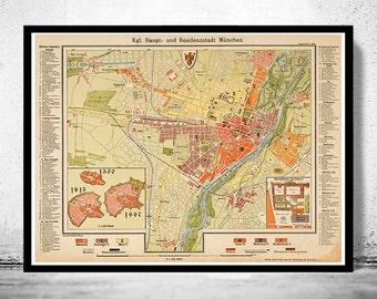 Old Map of Munich Munchen with gravures, Germany Deutshland 1890