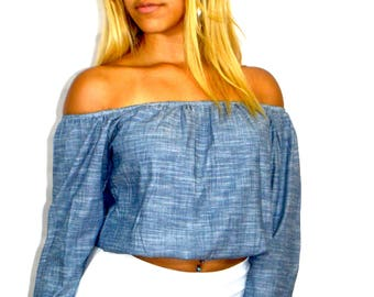 Blue Chambray Off Shoulder Long Sleeve Top