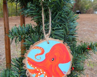 Octopus Hand painted wood slice ornament