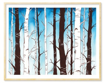 Birch Trees Print, Forest Decor, Living Room Wall Art, Blue Nursery Art, Birch Wall Art, Woodland Decor, Birch Forest Print, 8.5x11, 11x14