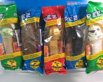 Vintage Lot of 5 Star Wars PEZ Dispensers Mint in bags
