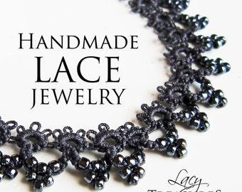 Lacy Black Choker Necklace, Black Statement Necklace, Beaded Choker, Elegant Jewelry, Classic Black, Fancy Filigree Jewelry, Anniversary