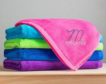 Embroidered Personalized Beach Towel: Large Personalized Beach Towel with Name, Bridesmaid Beach Towel, Custom Name Beach Towel, SHIPS FAST