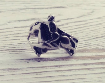 Vintage Horse and Rider Ring Sterling Silver Size 6.5