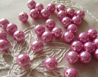 Pink beads, round, 8 mm diameter, set of 35