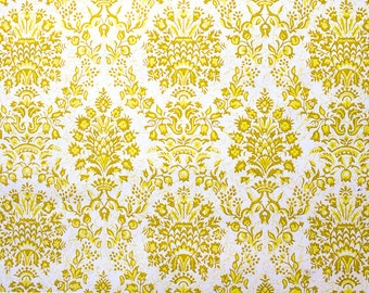Retro Wallpaper Vintage Yellow And White Damask Pattern The Wallflower Shop