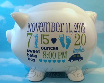 Personalized Piggy Bank, Baby Boy Piggy Bank, Baby Birth Stats Gift,  Baby Boy Gift, Piggy Bank,  New Baby Gift, Baby Bank
