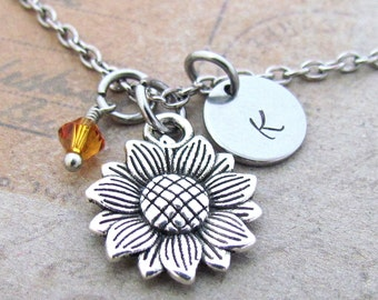 Sunflower necklace large sunflower charm antique silver sunflower charm necklace personalized antique silver hand stamped initial sunflower charm necklace aloadofball Gallery