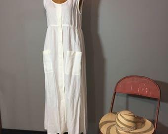Vintage 90's Donna Karan DKNY Bone White Linen Dress Minimalist Monotone M