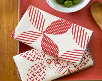 SECONDS SALE Hand Printed Cloth Napkins, Crimson Red, Anna Joyce Textile Collection
