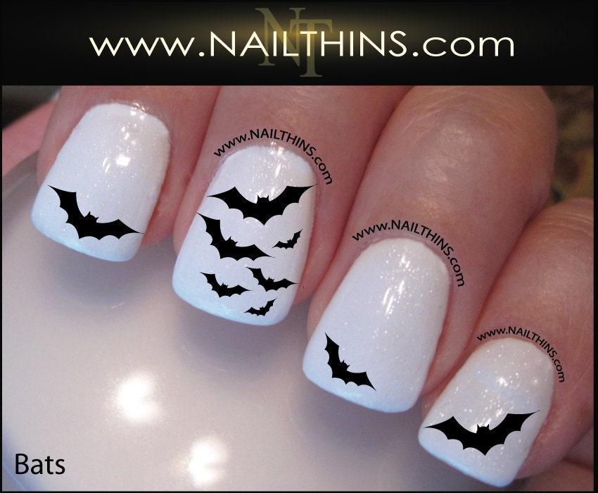 Bat Nail Decal Halloween Vampire Bats Nail Design NAILTHINS