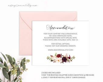 Burgundy Floral Wedding Accommodations Card Template, Printable Information Details Card, Vistaprint Rustic Boho DIY Instant Download #101