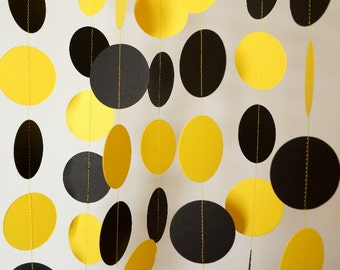 Black and Yellow Paper Garland, Graduation Decorations, Bumble Bee Birthday Party Garland, 10 ft. long