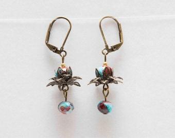 Flower petal earrings, Czech glass, bronze metal, dangle earrings, lever back earrings