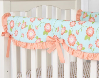 15% OFF SALE- Coral Floral Crib Rail Cover for Bumperless Bedding