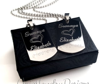 Couples Medium Dog Tag + Her One His Only + His and Hers Dog Tag Set + Couples Jewelry Set + Medium His and Her Set