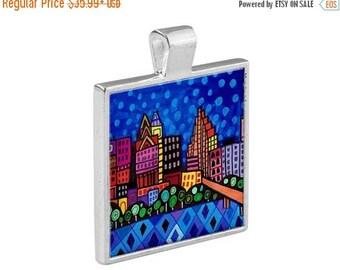 SALE ENDING- Austin Texas TX City Skyline Necklace Folk Art Jewelry - Pendant Metal  Gift Art Heather Galler Gift-  Travel Abstract Modern