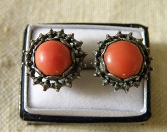 Awesome Vintage Red Coral Sterling Silver Earrings