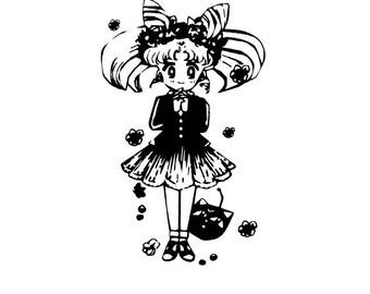 Sailor Moon Die Cut Vinyl Decal Sticker *Chibi-Usa Flowers* -Iphone, Ipad, Laptop, Mirror, Car, Windows, etc