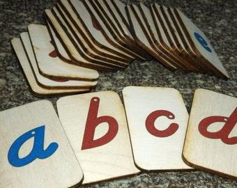 Mini LOWERCASE ITALIC Sandpaper Letters on birch wood