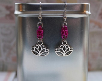 Lotus and fushia Byzantine drop earrings   Made with silver findings
