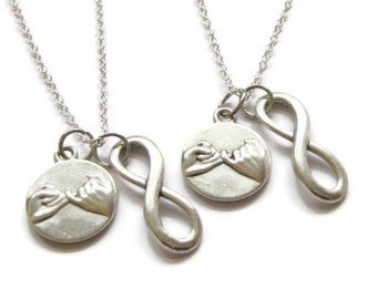 2 Pinky Promise Pinky Swear Infinity Best Friend Sisters Necklaces BFF