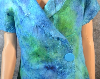 Felted turquoise top shabby chic style short sleeves