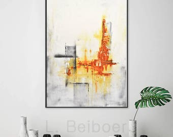 Large original abstract painting contemporary art amber 24 x 36 modern acrylic abstract painting by L.Beiboer