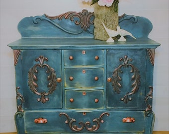 Buffet Server in Teal and Copper