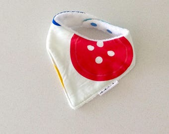 Ready to Ship! Baby Bandana Bib - Bright Buttons Print - Baby Shower Gift - New Baby Gift - Gender Neutral Baby Gift - Baby Bibs