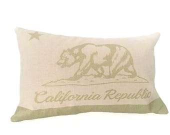 READY TO SHIP: California Flag Pillow Cover - Natural Linen & Champagne Metallic (add'l colors avail)