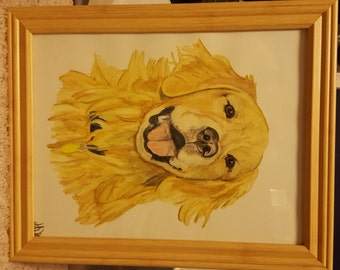 Watercolor Pencil Golden Retriever Painting or Print