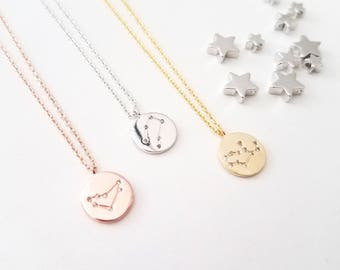 Zodiac Jewelry Celestial Jewelry Constellation Necklace Gift For Women Gold Disk Necklace,Important Dates Sign, Important Jewelry Zodiac