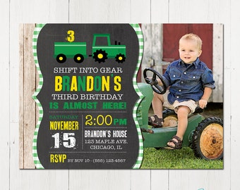 Tractor Invitation, Tractor Birthday Invitation, Tractor Party, Farm Birthday, Tractor invite, Printable Invitation