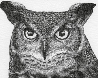 Black White Gray Great Horned Owl Drawing 4x6 Fine Art Paper Print