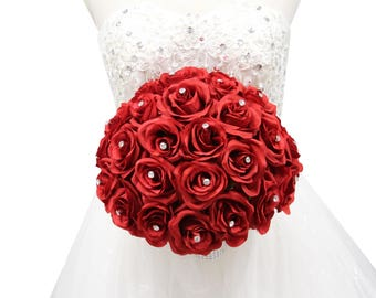Elegant Rose Bouquet with Rhinestone-Keepsake Artificial Hand-shaped rose bouquet in Natural true red