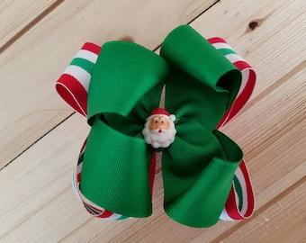 STORE CLOSING, SanTa Boutique, Layered Hair Bow, Christmas, Stripes