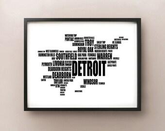 Detroit Typography Map, Michigan Text Art Print