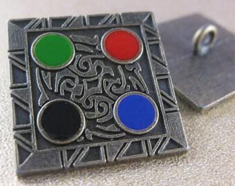 Hieroglyphic Button. Gunmetal. 25mm / 40 Ligne