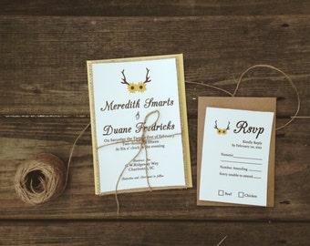 Sunflower Wedding invitation, Antler Wedding Invitation, Country Wedding invitation, Floral Wedding invitation