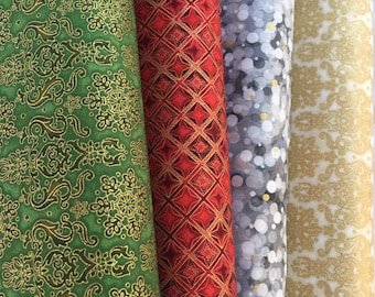 Winter's Grandeur Bundle of 4 Fabrics from Robert Kaufman, Evergreen Damask, Cream/Gold Damask, Crimson Red Diamonds, Pewter Dots, Metallic