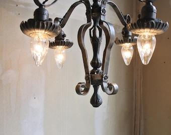 Antique Gothic Chandelier - Italian Gothic Chandelier - Brass And Steel Chandelier - 4 Arm Chandelier - Gothic Lighting - Gothic Fixture